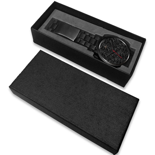 Tiger Striped Animal Print Designer Faux Fur Black Stainless Steel/ Genuine Leather Watch-Black Watch-Heidi Kimura Art LLC