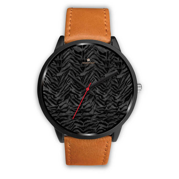 Tiger Striped Animal Print Designer Faux Fur Black Stainless Steel/ Genuine Leather Watch-Black Watch-Mens 40mm-Brown Leather-Heidi Kimura Art LLC