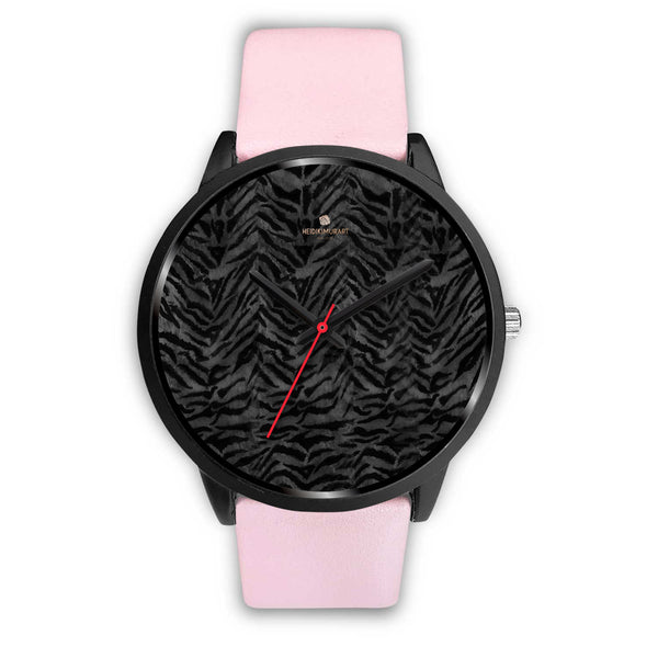 Tiger Striped Animal Print Designer Faux Fur Black Stainless Steel/ Genuine Leather Watch-Black Watch-Mens 40mm-Pink Leather-Heidi Kimura Art LLC