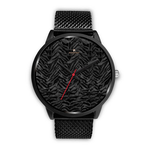 Tiger Striped Animal Print Designer Faux Fur Black Stainless Steel/ Genuine Leather Watch-Black Watch-Mens 40mm-Black Metal Mesh-Heidi Kimura Art LLC