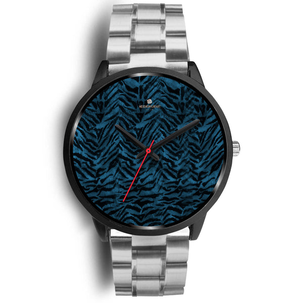 Blue Custom Tiger Stripe Faur Fur Animal Print Stainless Steel Black Leather Wrist Watch-Black Watch-Mens 40mm-Silver Metal Link-Heidi Kimura Art LLC
