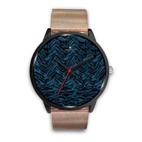 Blue Custom Tiger Stripe Faur Fur Animal Print Stainless Steel Black Leather Wrist Watch-Black Watch-Mens 40mm-Rose Gold Metal Mesh-Heidi Kimura Art LLC