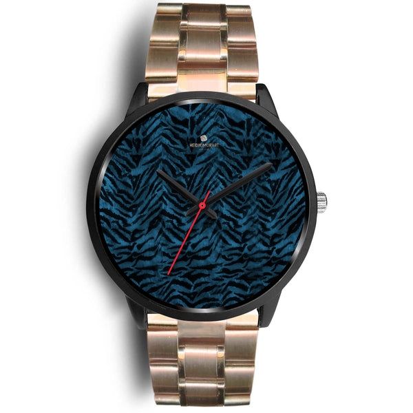 Blue Custom Tiger Stripe Faur Fur Animal Print Stainless Steel Black Leather Wrist Watch-Black Watch-Mens 40mm-Rose Gold Metal Link-Heidi Kimura Art LLC