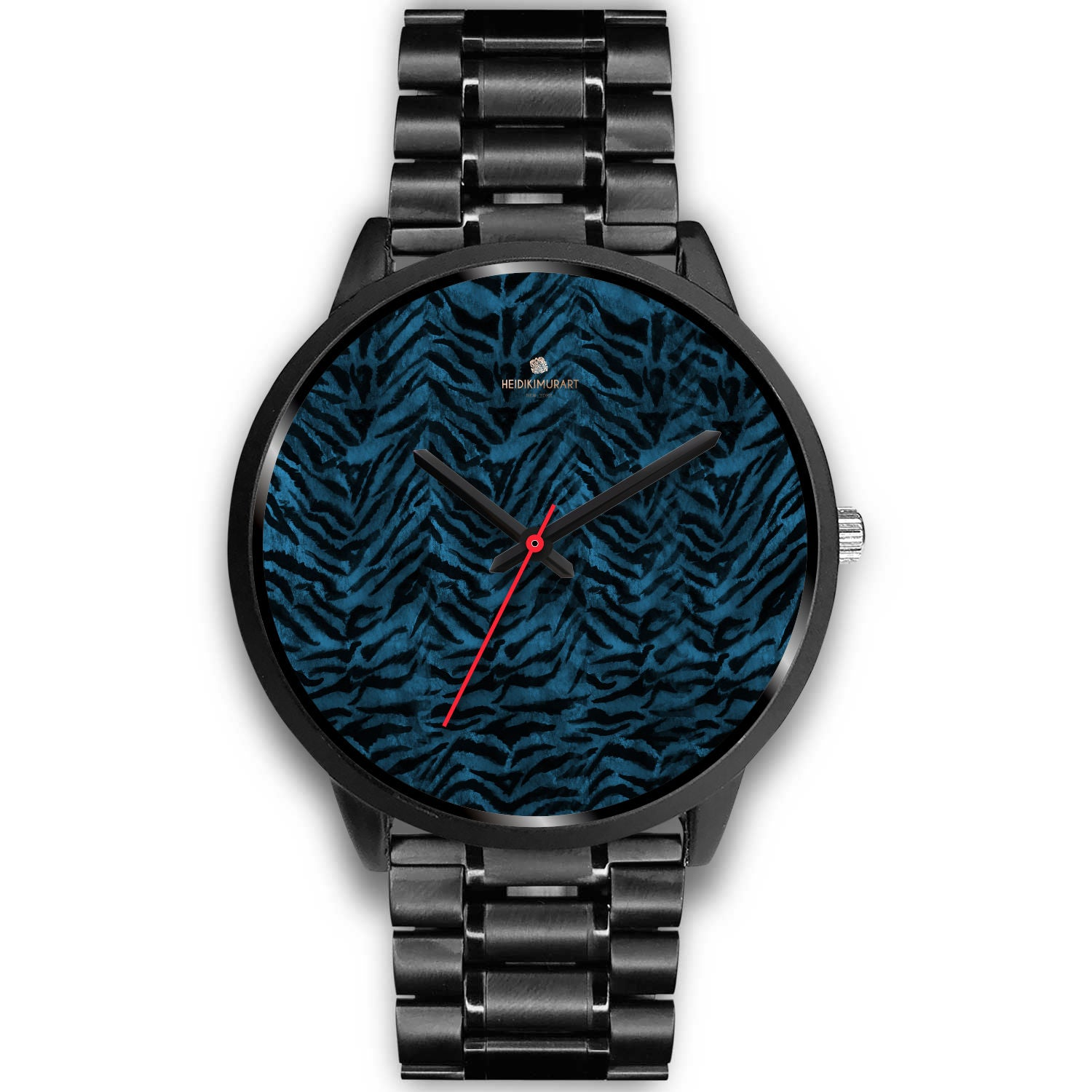Blue Custom Tiger Stripe Faur Fur Animal Print Stainless Steel Black Leather Wrist Watch-Black Watch-Mens 40mm-Black Metal Link-Heidi Kimura Art LLC