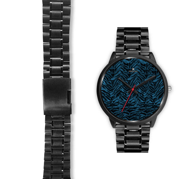 Blue Custom Tiger Stripe Faur Fur Animal Print Stainless Steel Black Leather Wrist Watch-Black Watch-Heidi Kimura Art LLC