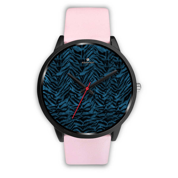 Blue Custom Tiger Stripe Faur Fur Animal Print Stainless Steel Black Leather Wrist Watch-Black Watch-Mens 40mm-Pink Leather-Heidi Kimura Art LLC Blue Tiger Stripe Watch, Blue Custom Tiger Stripe Faux Fur Animal Print Stainless Steel Black Leather Wrist Watch