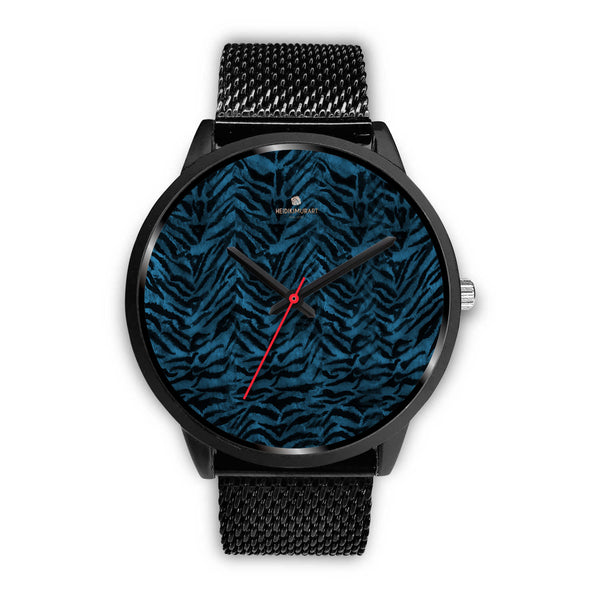 Blue Custom Tiger Stripe Faur Fur Animal Print Stainless Steel Black Leather Wrist Watch-Black Watch-Mens 40mm-Black Metal Mesh-Heidi Kimura Art LLC
