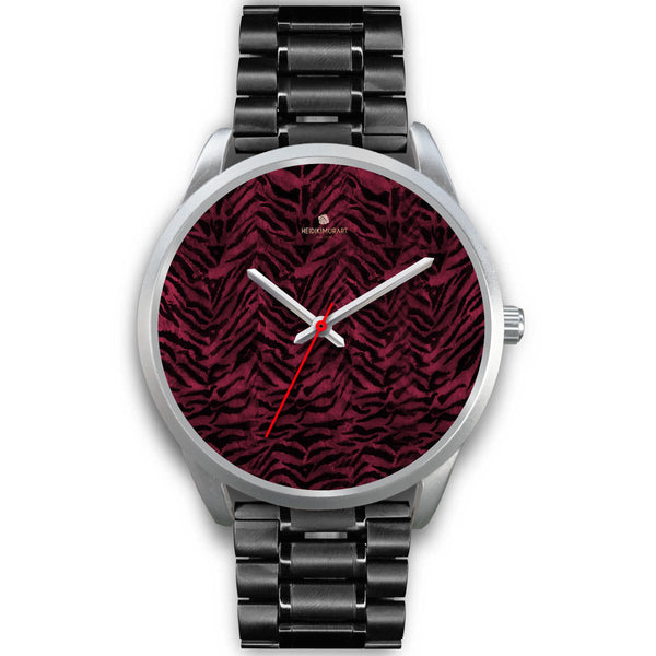 Pink Tiger Striped Unisex Premium Silver Genuine Leather/ Stainless Steel Watch-Silver Watch-Mens 40mm-Black Metal Link-Heidi Kimura Art LLC