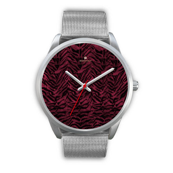 Pink Tiger Striped Unisex Premium Silver Genuine Leather/ Stainless Steel Watch-Silver Watch-Mens 40mm-Silver Metal Mesh-Heidi Kimura Art LLC