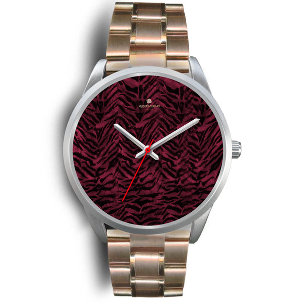 Pink Tiger Striped Unisex Premium Silver Genuine Leather/ Stainless Steel Watch-Silver Watch-Mens 40mm-Rose Gold Metal Link-Heidi Kimura Art LLC