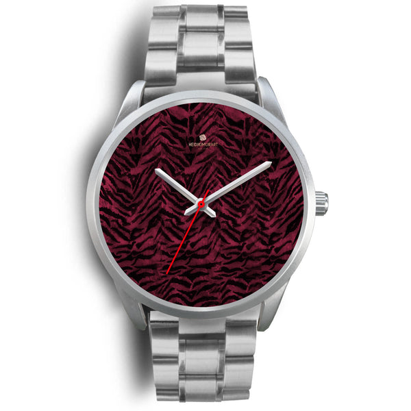 Pink Tiger Striped Unisex Premium Silver Genuine Leather/ Stainless Steel Watch-Silver Watch-Mens 40mm-Silver Metal Link-Heidi Kimura Art LLC