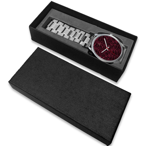 Pink Tiger Striped Unisex Premium Silver Genuine Leather/ Stainless Steel Watch-Silver Watch-Heidi Kimura Art LLC