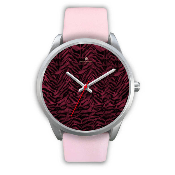 Pink Tiger Striped Unisex Premium Silver Genuine Leather/ Stainless Steel Watch-Silver Watch-Mens 40mm-Pink Leather-Heidi Kimura Art LLC