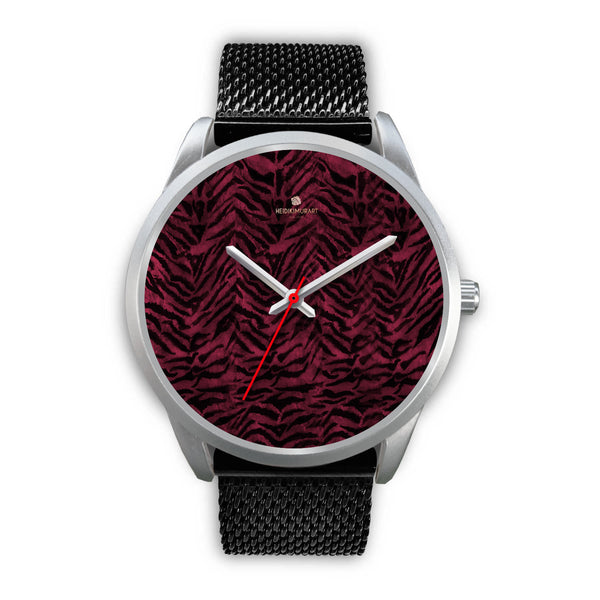 Pink Tiger Striped Unisex Premium Silver Genuine Leather/ Stainless Steel Watch-Silver Watch-Mens 40mm-Black Metal Mesh-Heidi Kimura Art LLC