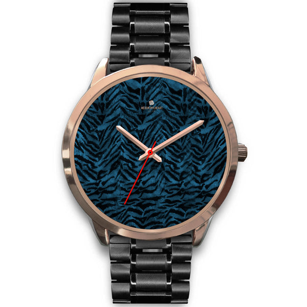 Ocean Blue Seal Personalized Custom Blue Tiger Striped Animal Print Watch-Rose Gold Watch-Mens 40mm-Black Metal Link-Heidi Kimura Art LLC