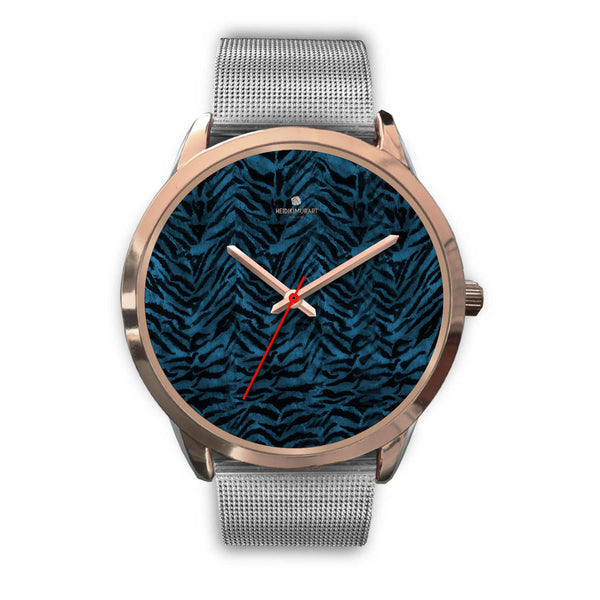 Ocean Blue Seal Personalized Custom Blue Tiger Striped Animal Print Watch-Rose Gold Watch-Mens 40mm-Silver Metal Mesh-Heidi Kimura Art LLC
