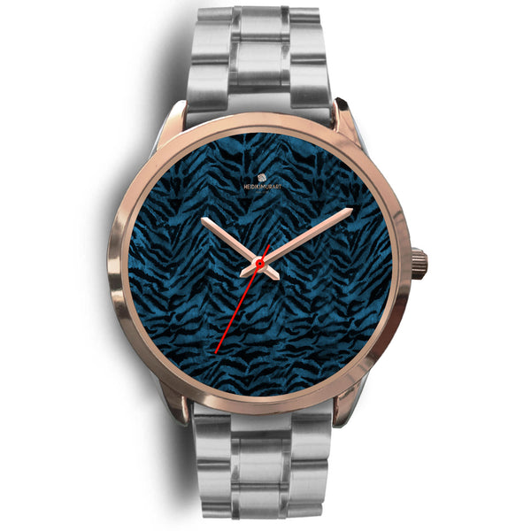 Ocean Blue Seal Personalized Custom Blue Tiger Striped Animal Print Watch-Rose Gold Watch-Mens 40mm-Silver Metal Link-Heidi Kimura Art LLC