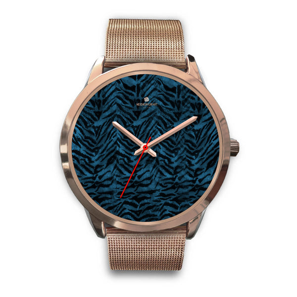 Ocean Blue Seal Personalized Custom Blue Tiger Striped Animal Print Watch-Rose Gold Watch-Mens 40mm-Rose Gold Metal Mesh-Heidi Kimura Art LLC