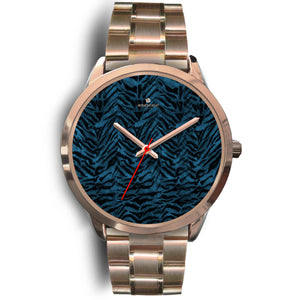 Ocean Blue Seal Personalized Custom Blue Tiger Striped Animal Print Watch-Rose Gold Watch-Mens 40mm-Rose Gold Metal Link-Heidi Kimura Art LLC