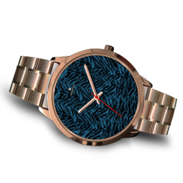Ocean Blue Seal Personalized Custom Blue Tiger Striped Animal Print Watch-Rose Gold Watch-Heidi Kimura Art LLC