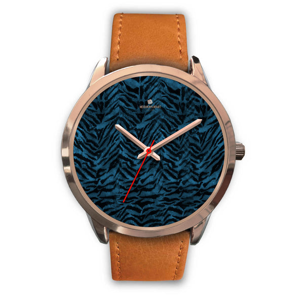 Ocean Blue Seal Personalized Custom Blue Tiger Striped Animal Print Watch-Rose Gold Watch-Mens 40mm-Brown Leather-Heidi Kimura Art LLC