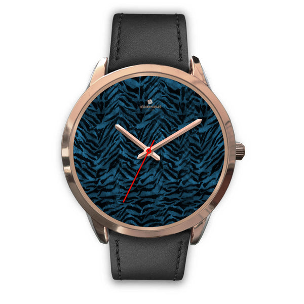 Ocean Blue Seal Personalized Custom Blue Tiger Striped Animal Print Watch-Rose Gold Watch-Mens 40mm-Black Leather-Heidi Kimura Art LLC