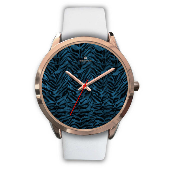 Ocean Blue Seal Personalized Custom Blue Tiger Striped Animal Print Watch-Rose Gold Watch-Mens 40mm-White Leather-Heidi Kimura Art LLC