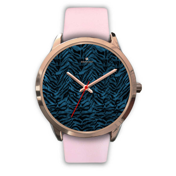 Ocean Blue Seal Personalized Custom Blue Tiger Striped Animal Print Watch-Rose Gold Watch-Mens 40mm-Pink Leather-Heidi Kimura Art LLC