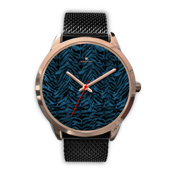 Ocean Blue Seal Personalized Custom Blue Tiger Striped Animal Print Watch-Rose Gold Watch-Mens 40mm-Black Metal Mesh-Heidi Kimura Art LLC