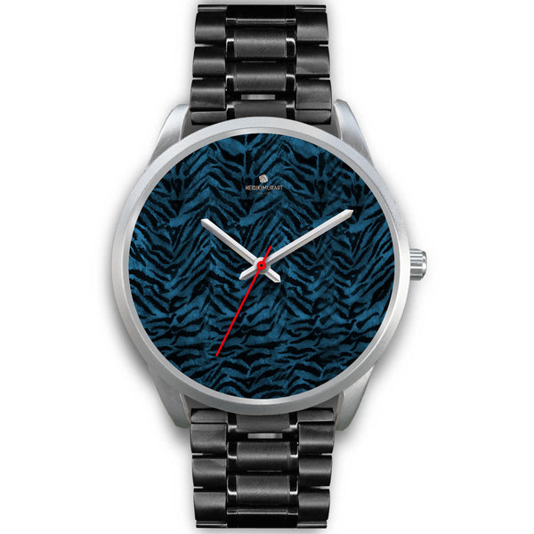 Stainless Steel or Leather Custom Blue Tiger Striped Animal Print Designer Watch-Silver Watch-Mens 40mm-Black Metal Link-Heidi Kimura Art LLC