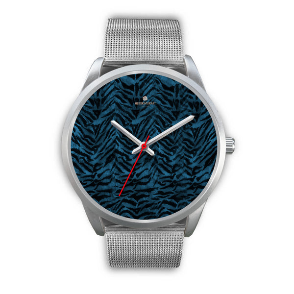 Stainless Steel or Leather Custom Blue Tiger Striped Animal Print Designer Watch-Silver Watch-Mens 40mm-Silver Metal Mesh-Heidi Kimura Art LLC