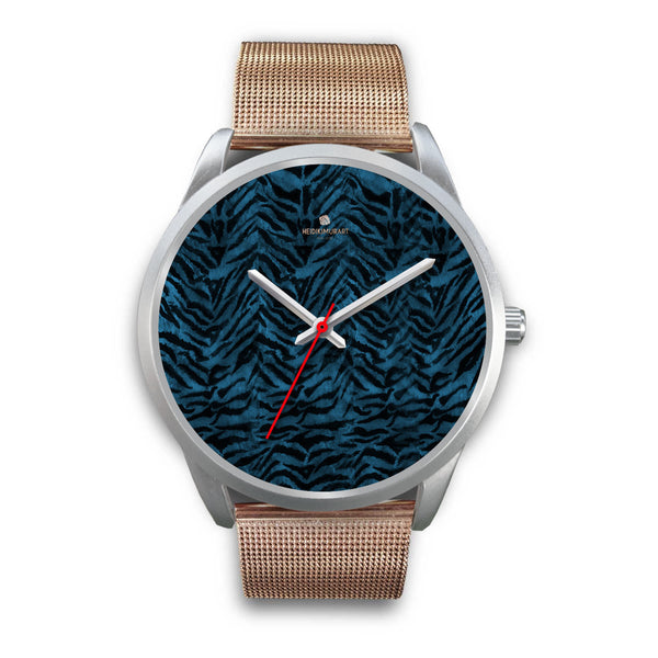 Stainless Steel or Leather Custom Blue Tiger Striped Animal Print Designer Watch-Silver Watch-Mens 40mm-Rose Gold Metal Mesh-Heidi Kimura Art LLC