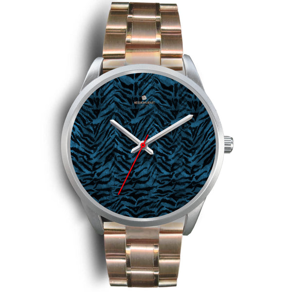 Stainless Steel or Leather Custom Blue Tiger Striped Animal Print Designer Watch-Silver Watch-Mens 40mm-Rose Gold Metal Link-Heidi Kimura Art LLC