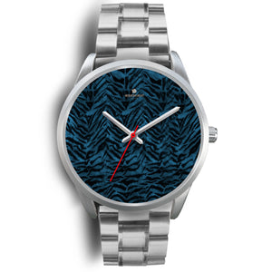 Stainless Steel or Leather Custom Blue Tiger Striped Animal Print Designer Watch-Silver Watch-Mens 40mm-Silver Metal Link-Heidi Kimura Art LLC