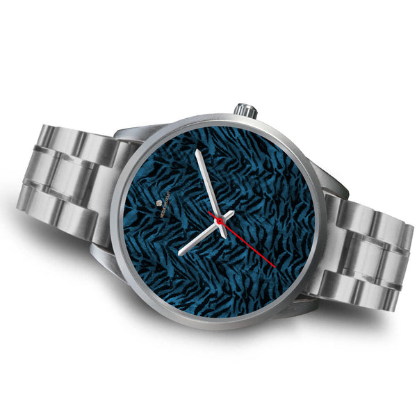 Stainless Steel or Leather Custom Blue Tiger Striped Animal Print Designer Watch-Silver Watch-Heidi Kimura Art LLC