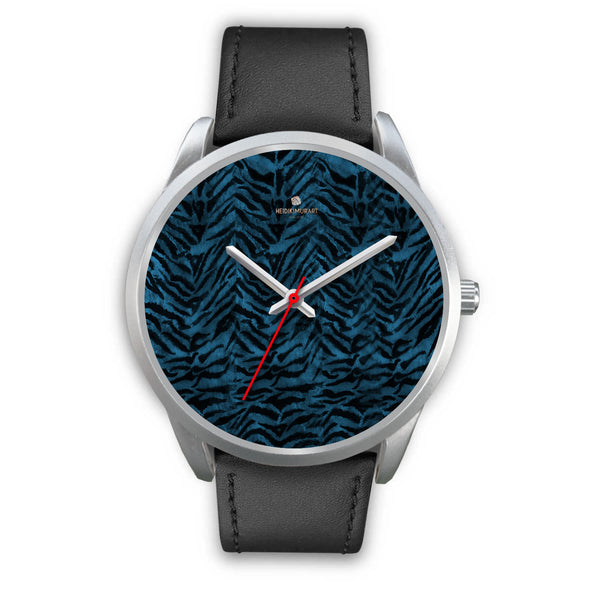 Stainless Steel or Leather Custom Blue Tiger Striped Animal Print Designer Watch-Silver Watch-Mens 40mm-Black Leather-Heidi Kimura Art LLC