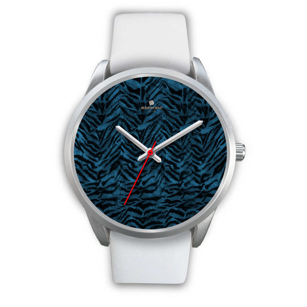 Stainless Steel or Leather Custom Blue Tiger Striped Animal Print Designer Watch-Silver Watch-Mens 40mm-White Leather-Heidi Kimura Art LLC