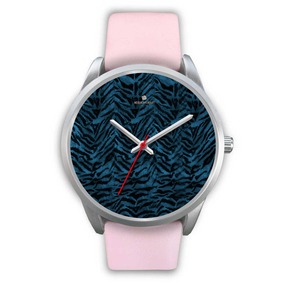 Stainless Steel or Leather Custom Blue Tiger Striped Animal Print Designer Watch-Silver Watch-Mens 40mm-Pink Leather-Heidi Kimura Art LLC