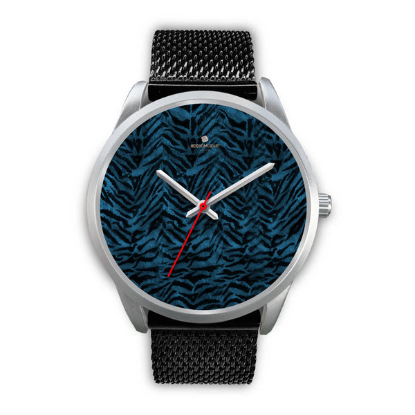 Stainless Steel or Leather Custom Blue Tiger Striped Animal Print Designer Watch-Silver Watch-Mens 40mm-Black Metal Mesh-Heidi Kimura Art LLC