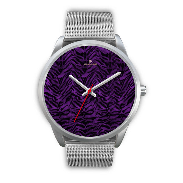 Black Purple Tiger Striped Animal Print Skin Silver Unisex Designer Bestselling Watch-Silver Watch-Mens 40mm-Silver Metal Mesh-Heidi Kimura Art LLC