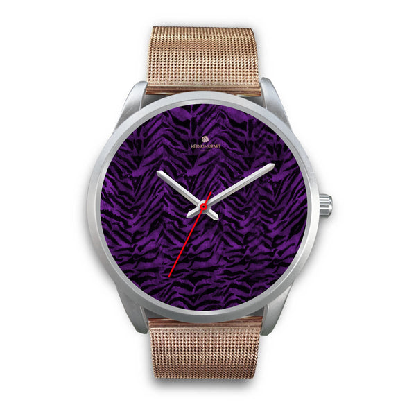 Black Purple Tiger Striped Animal Print Skin Silver Unisex Designer Bestselling Watch-Silver Watch-Mens 40mm-Rose Gold Metal Mesh-Heidi Kimura Art LLC