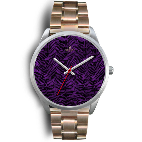 Black Purple Tiger Striped Animal Print Skin Silver Unisex Designer Bestselling Watch-Silver Watch-Mens 40mm-Rose Gold Metal Link-Heidi Kimura Art LLC