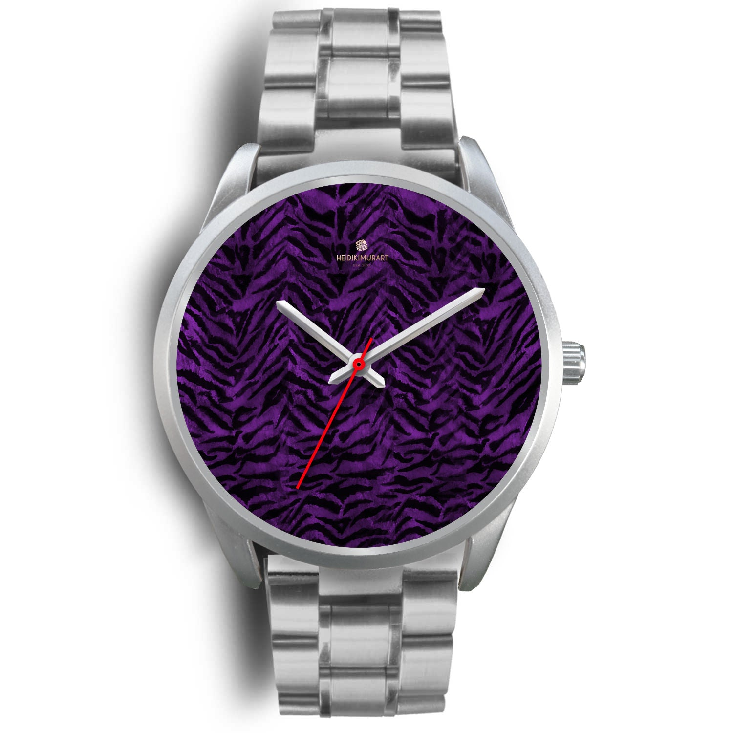 Black Purple Tiger Striped Animal Print Skin Silver Unisex Designer Bestselling Watch-Silver Watch-Mens 40mm-Silver Metal Link-Heidi Kimura Art LLC