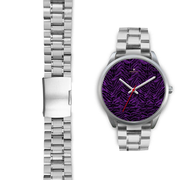 Black Purple Tiger Striped Animal Print Skin Silver Unisex Designer Bestselling Watch-Silver Watch-Heidi Kimura Art LLC