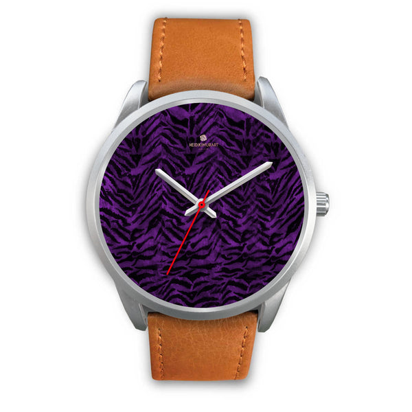 Black Purple Tiger Striped Animal Print Skin Silver Unisex Designer Bestselling Watch-Silver Watch-Mens 40mm-Brown Leather-Heidi Kimura Art LLC