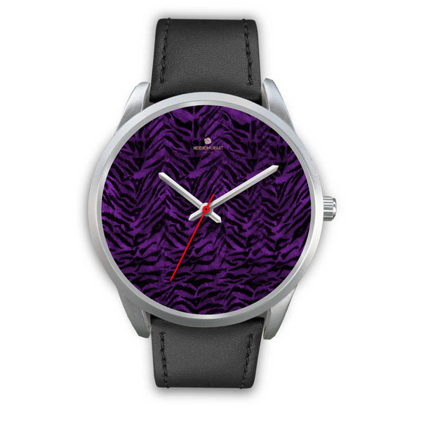 Black Purple Tiger Striped Animal Print Skin Silver Unisex Designer Bestselling Watch-Silver Watch-Mens 40mm-Black Leather-Heidi Kimura Art LLC Purple Tiger Striped Watch, Purple Black Tiger Striped Animal Print Skin Silver Unisex Men's 40mm or Women's 34mm Watch-Designed in the USA
