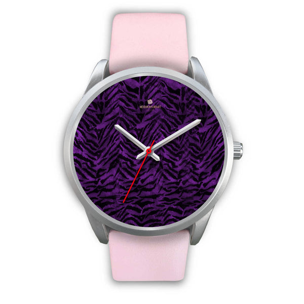 Black Purple Tiger Striped Animal Print Skin Silver Unisex Designer Bestselling Watch-Silver Watch-Mens 40mm-Pink Leather-Heidi Kimura Art LLC
