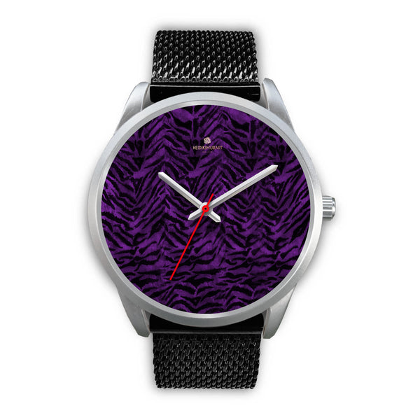 Black Purple Tiger Striped Animal Print Skin Silver Unisex Designer Bestselling Watch-Silver Watch-Mens 40mm-Black Metal Mesh-Heidi Kimura Art LLC
