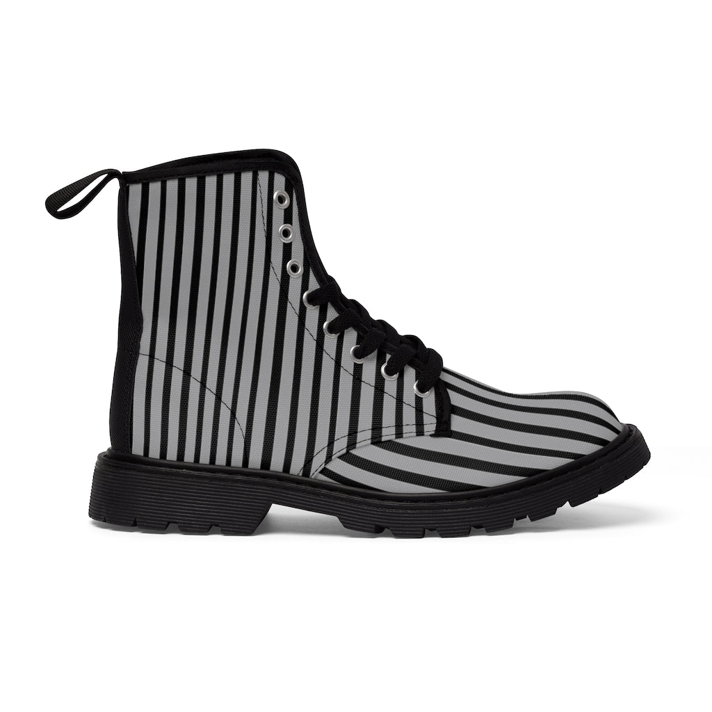 Grey Striped Print Men's Boots, Black Stripes Best Hiking Winter Boots Laced Up Shoes For Men-Shoes-Printify-Black-US 7-Heidi Kimura Art LLC Grey Striped Print Men's Boots, Black Grey Stripes Men's Canvas Hiking Winter Boots, Fashionable Modern Minimalist Best Anti Heat + Moisture Designer Comfortable Stylish Men's Winter Hiking Boots Shoes For Men (US Size: 7-10.5)
