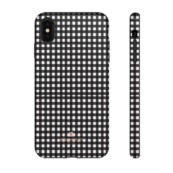 Buffalo Plaid Print Phone Case, Black White Tough Designer Phone Case -Made in USA-Phone Case-Printify-iPhone XS MAX-Glossy-Heidi Kimura Art LLC